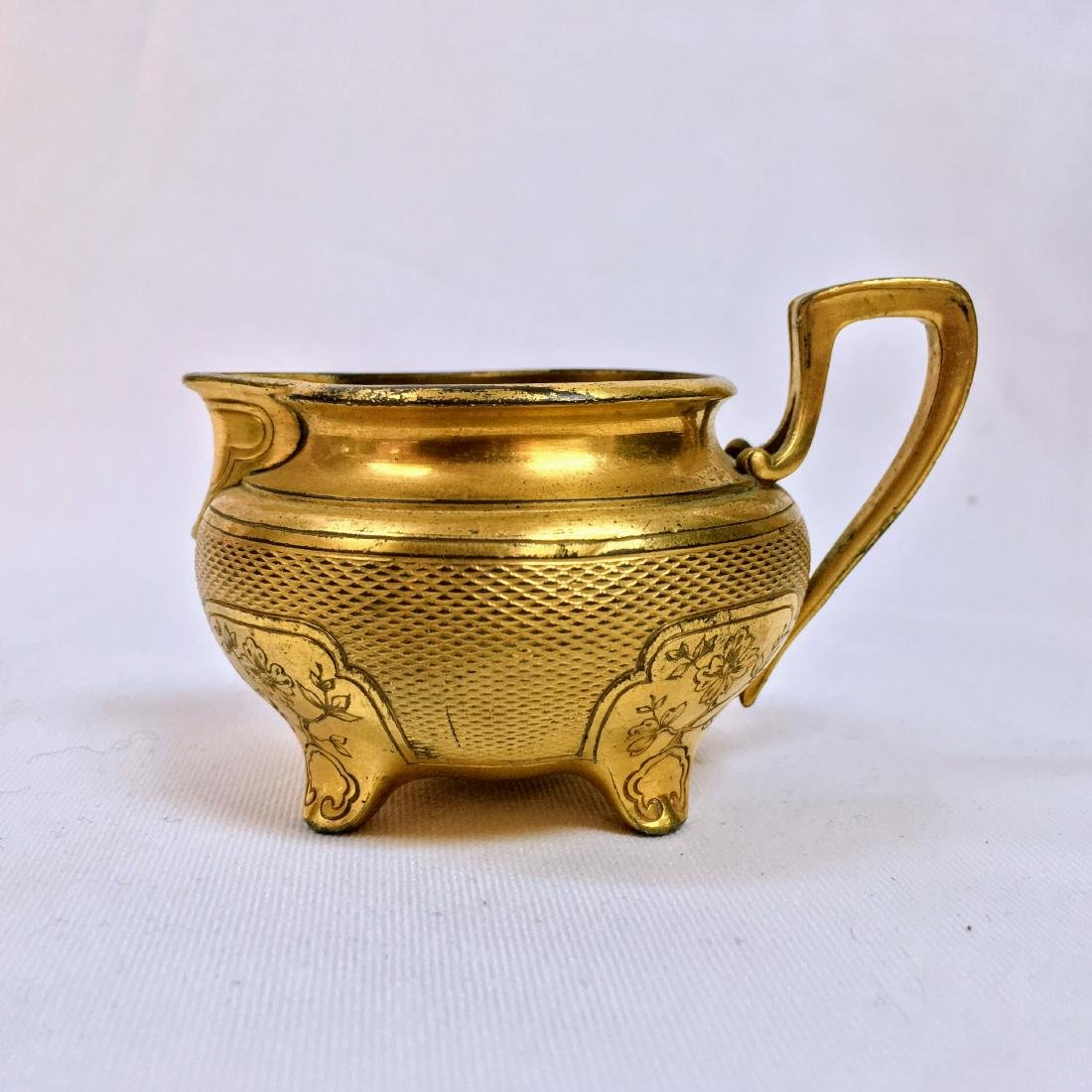 Antique Christofle small bronze engraved creamer