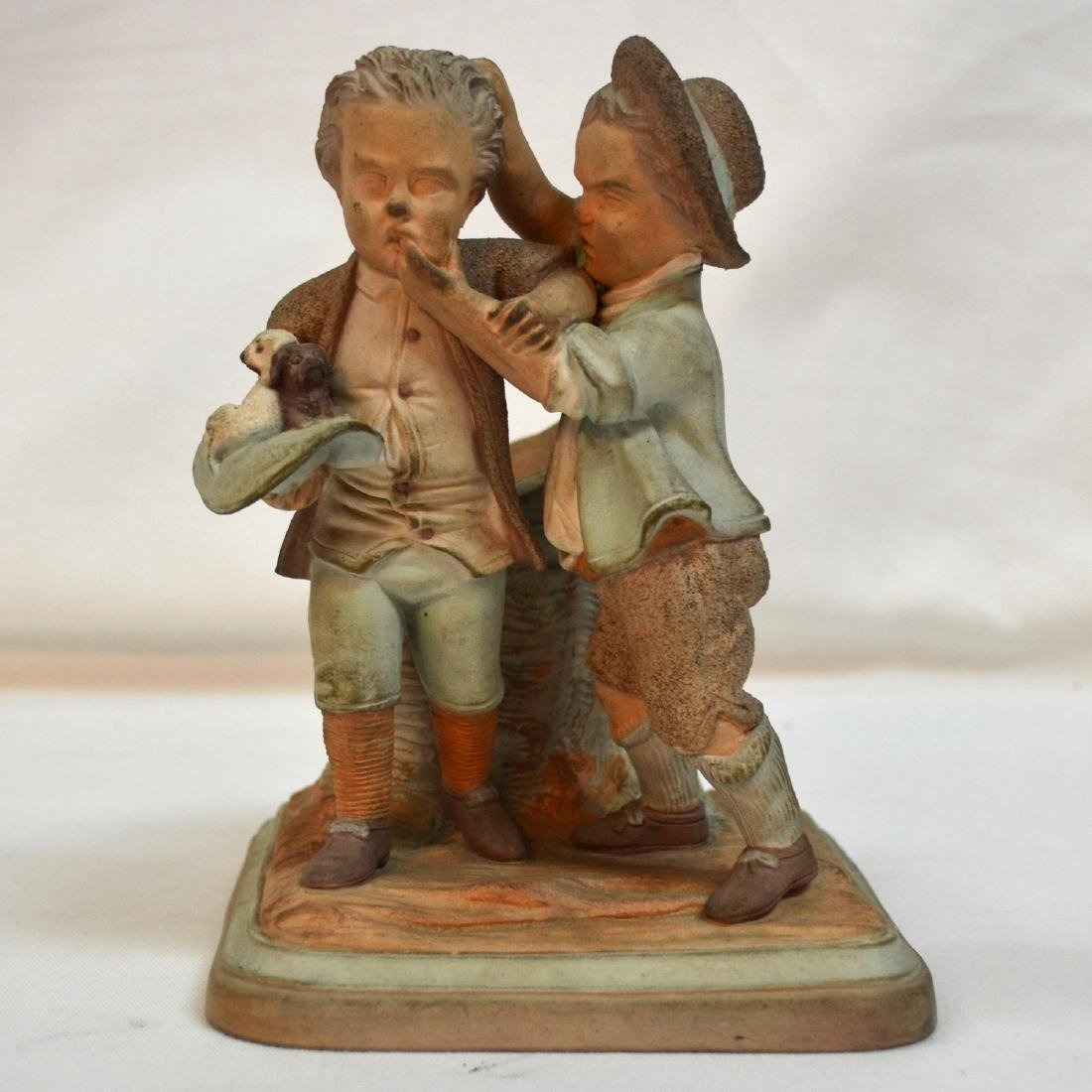 19thc English Terracotta Smoking Stand Two Boys w
