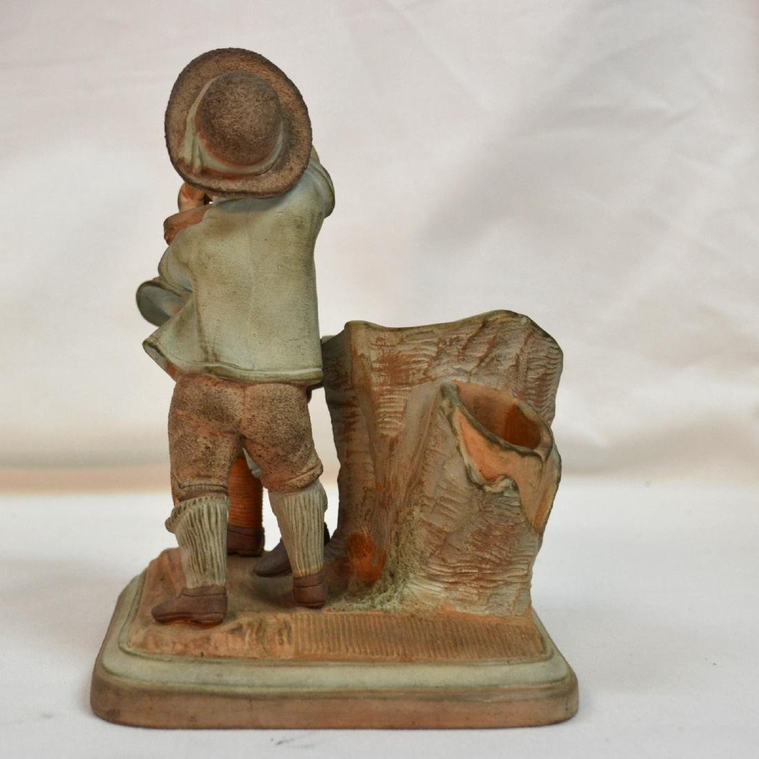 19thc English Terracotta Smoking Stand Two Boys w - 2