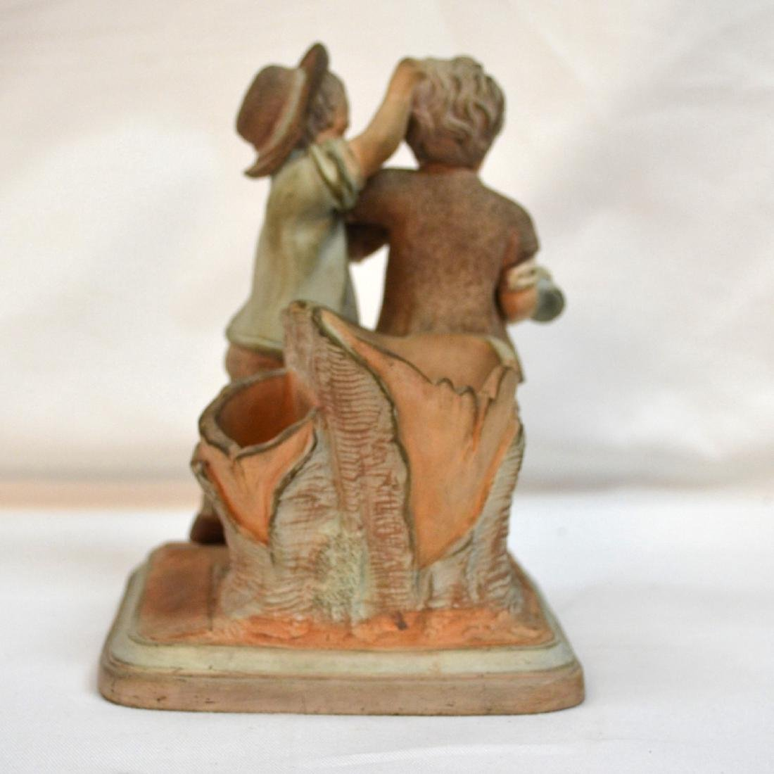 19thc English Terracotta Smoking Stand Two Boys w - 3