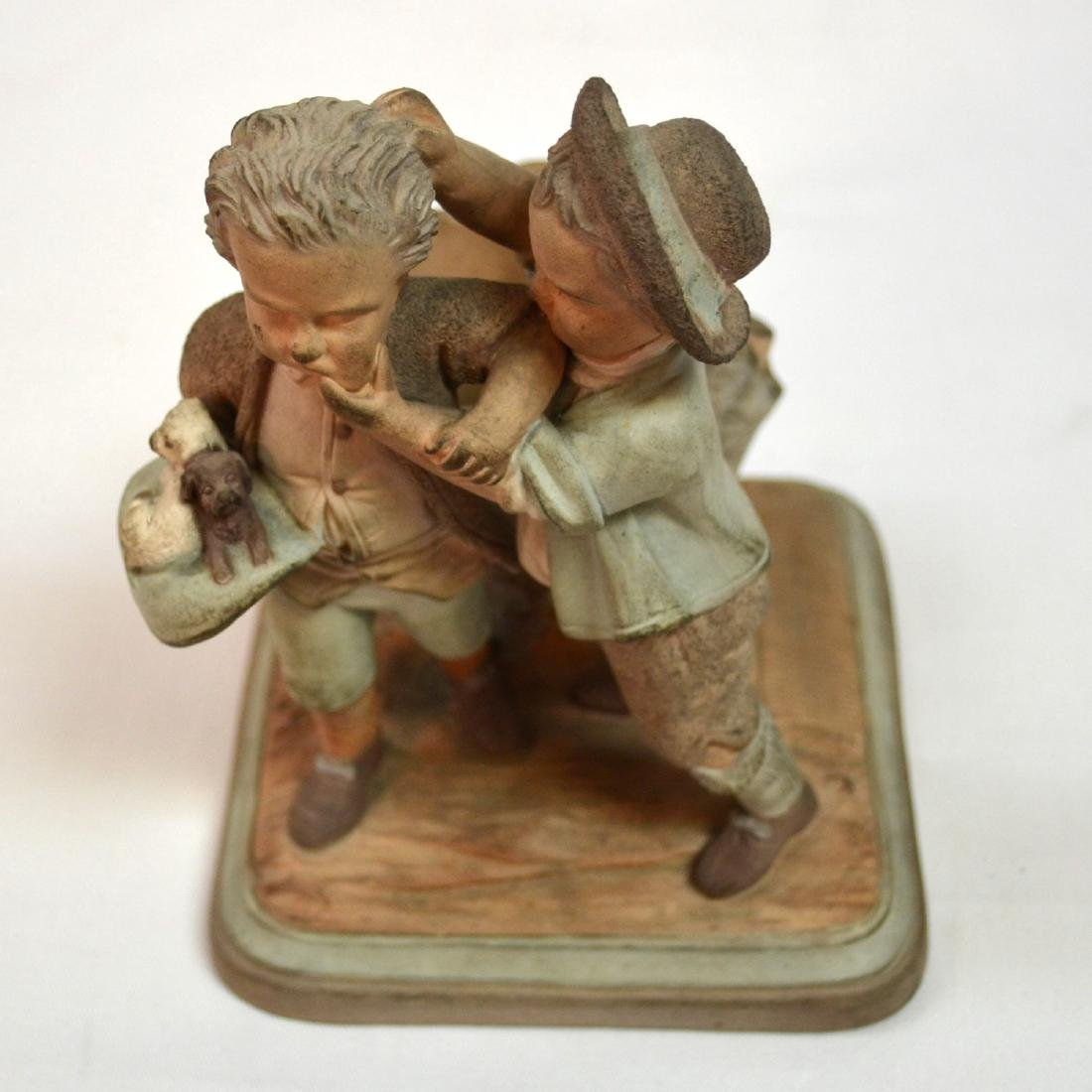 19thc English Terracotta Smoking Stand Two Boys w - 5