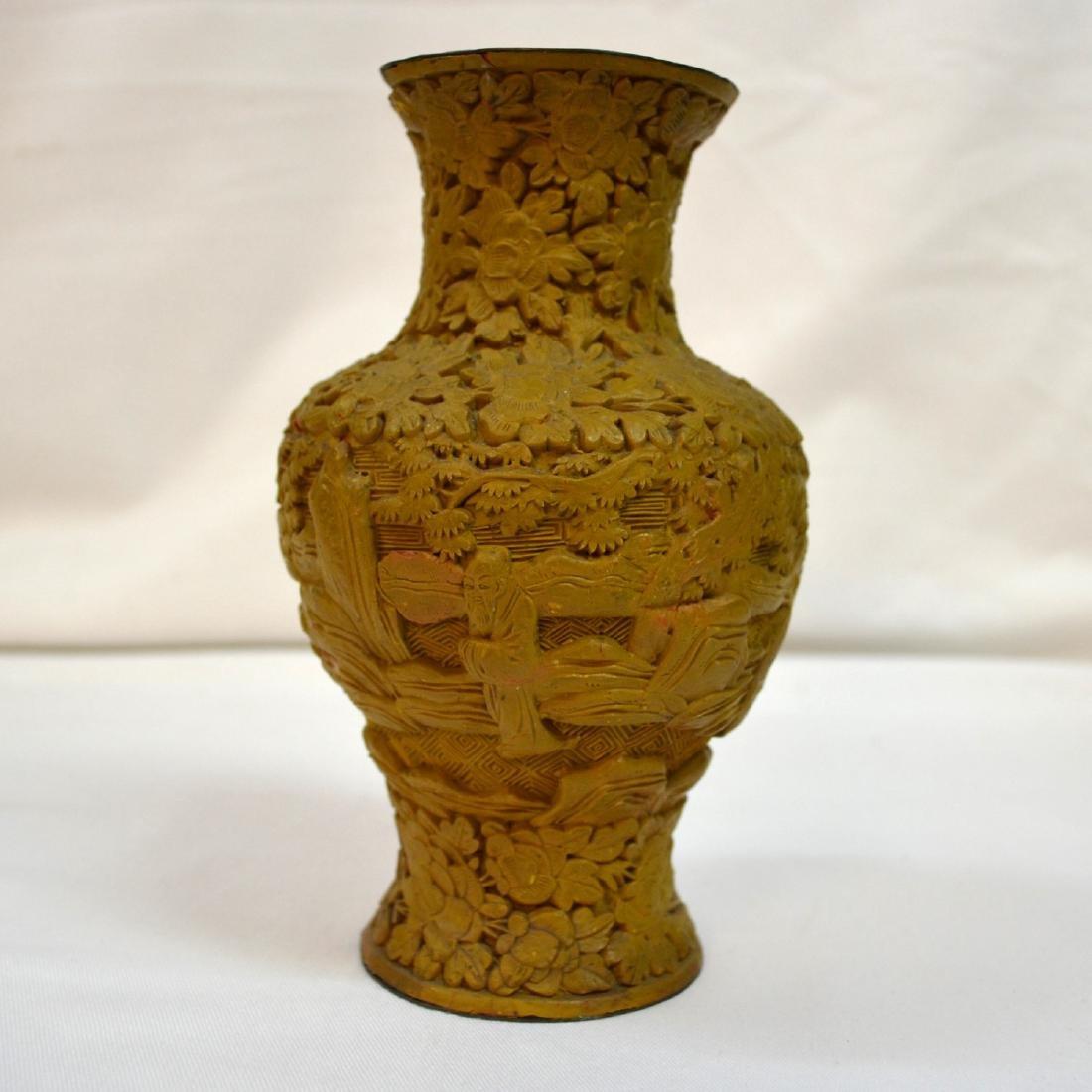Chinese Hand Carved White Cinnabar Vase