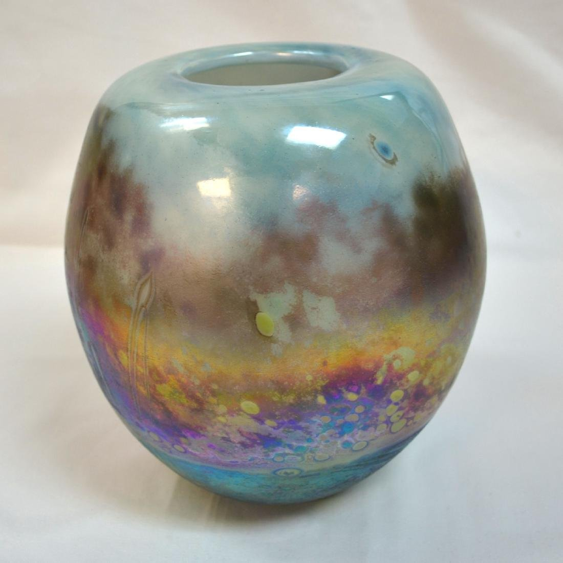 Vitange iridescent threaded blue art glass vase Signed - 4