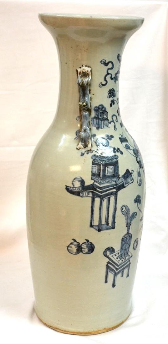 Large Antique Chinese Celadon Blue and White Vase, 19th - 4