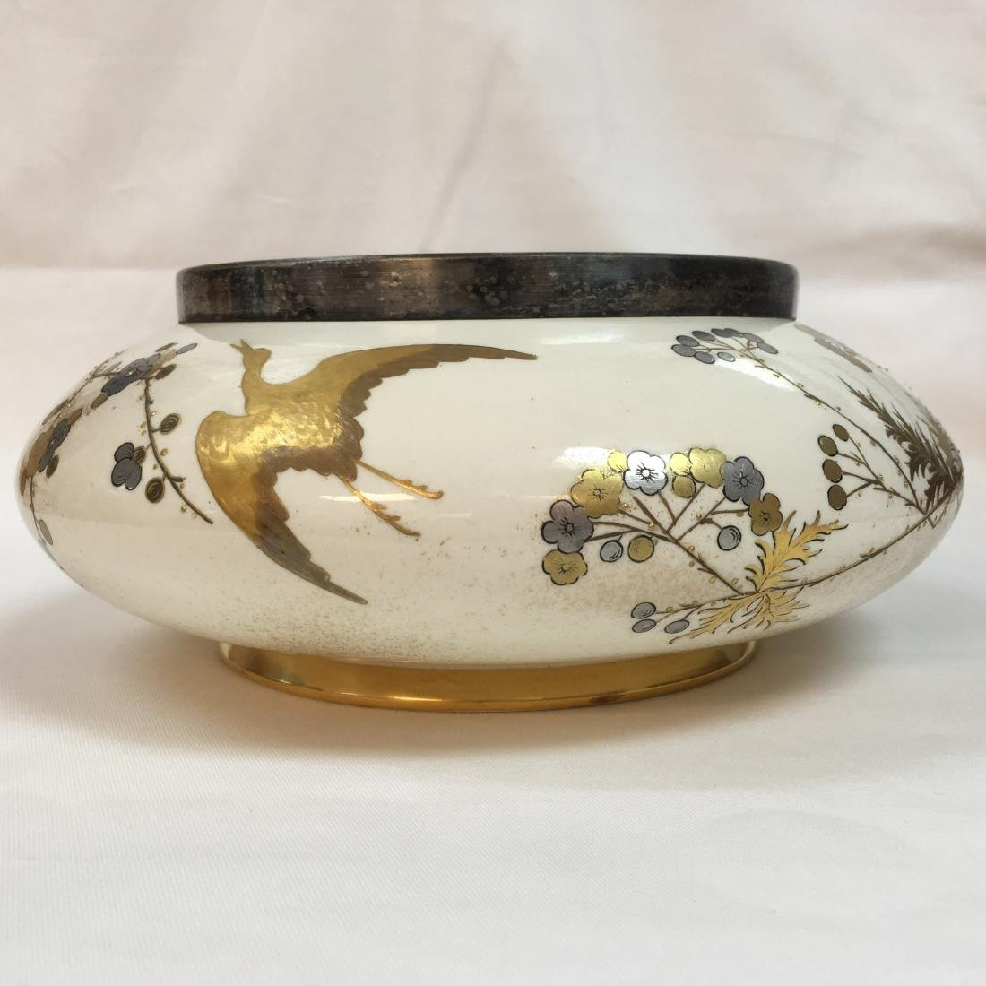 Antique Royal Worcester gold/sterling silver inlay