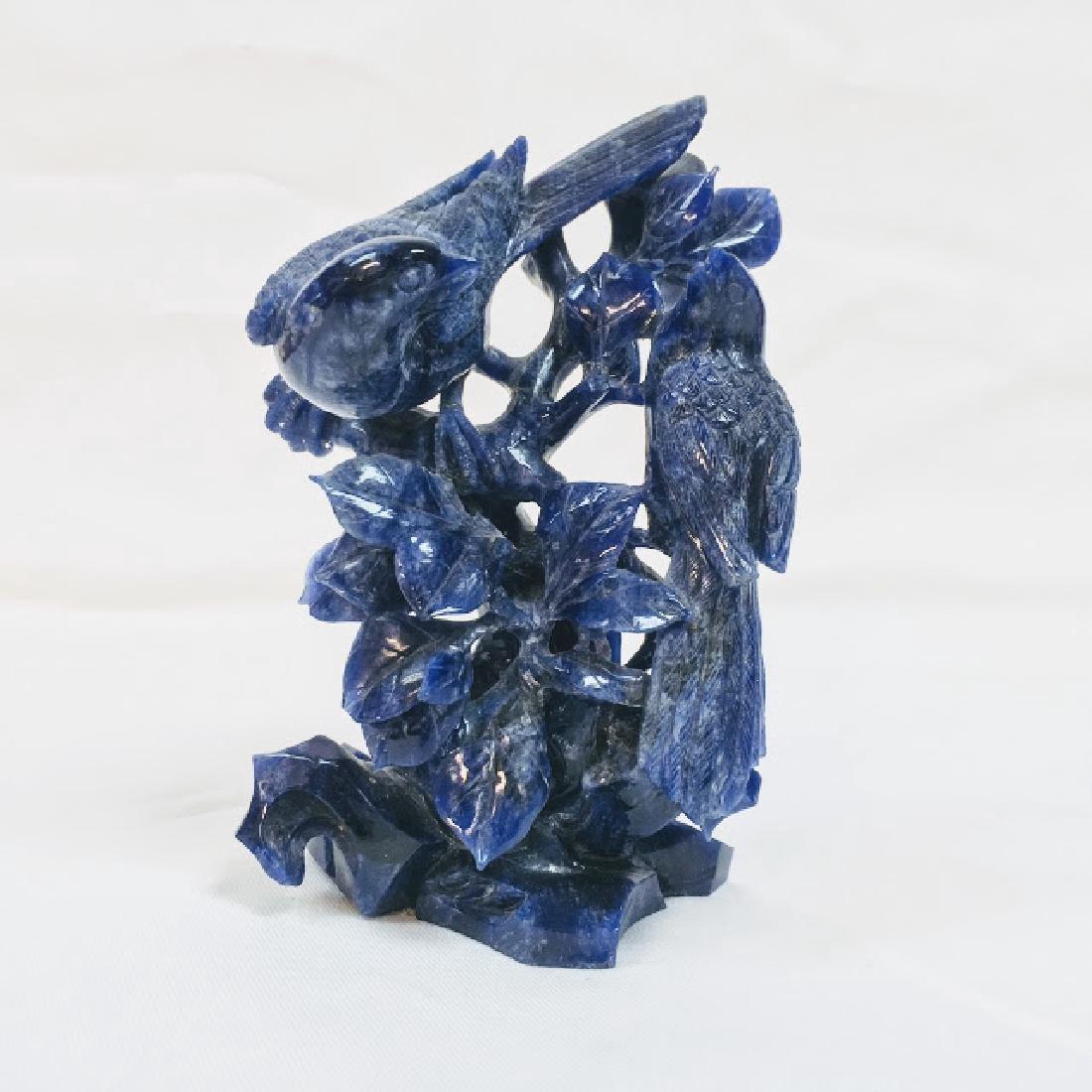 Antique Chinese lapis lazuli, grouped birds scene - 5