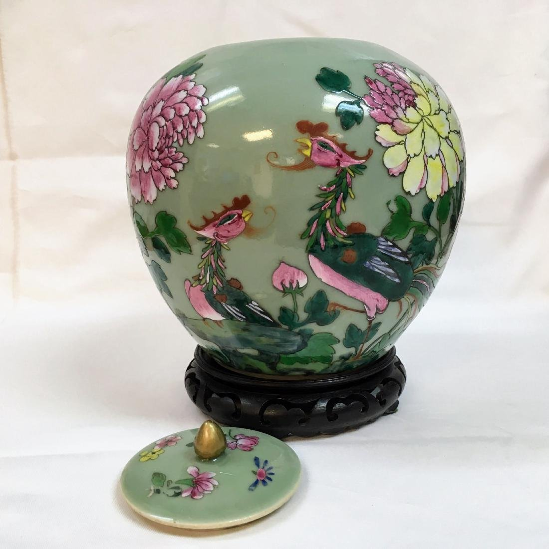 Antique Chinese Famille rose Porcelain green ginger jar - 3