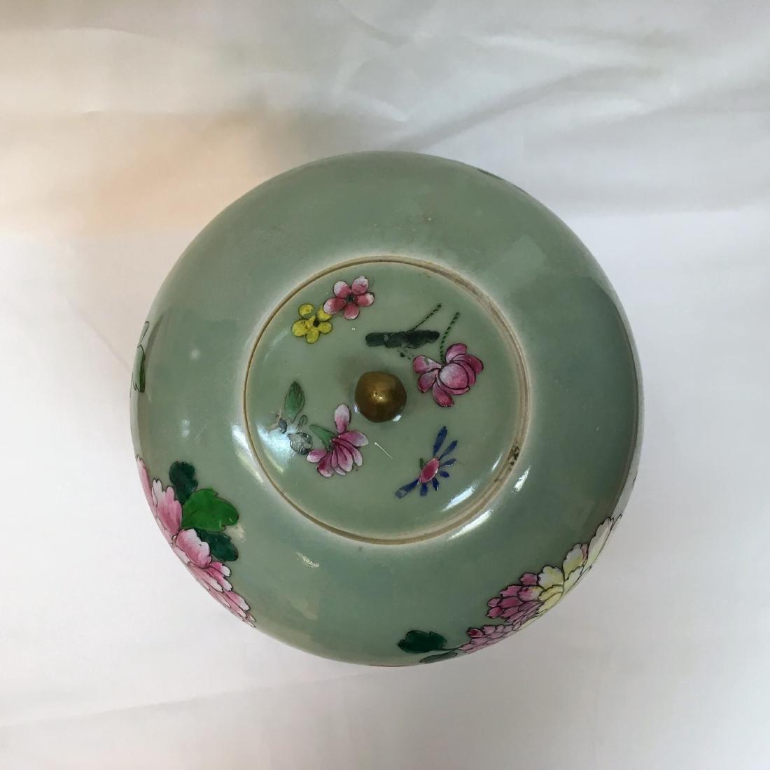 Antique Chinese Famille rose Porcelain green ginger jar - 5