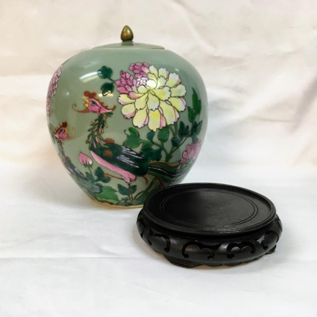 Antique Chinese Famille rose Porcelain green ginger jar - 6