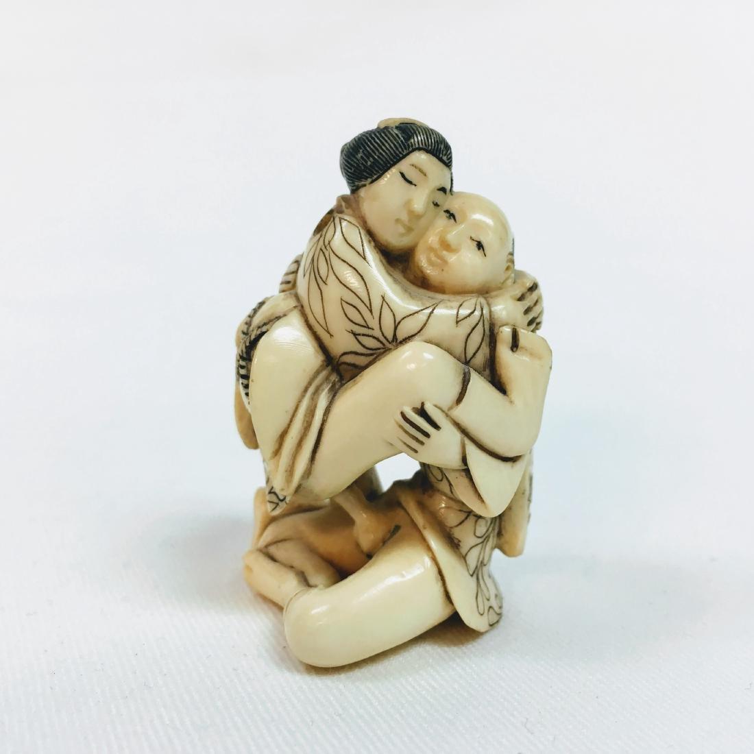 19th Century Erotic Netsuke man with woman figure - 6