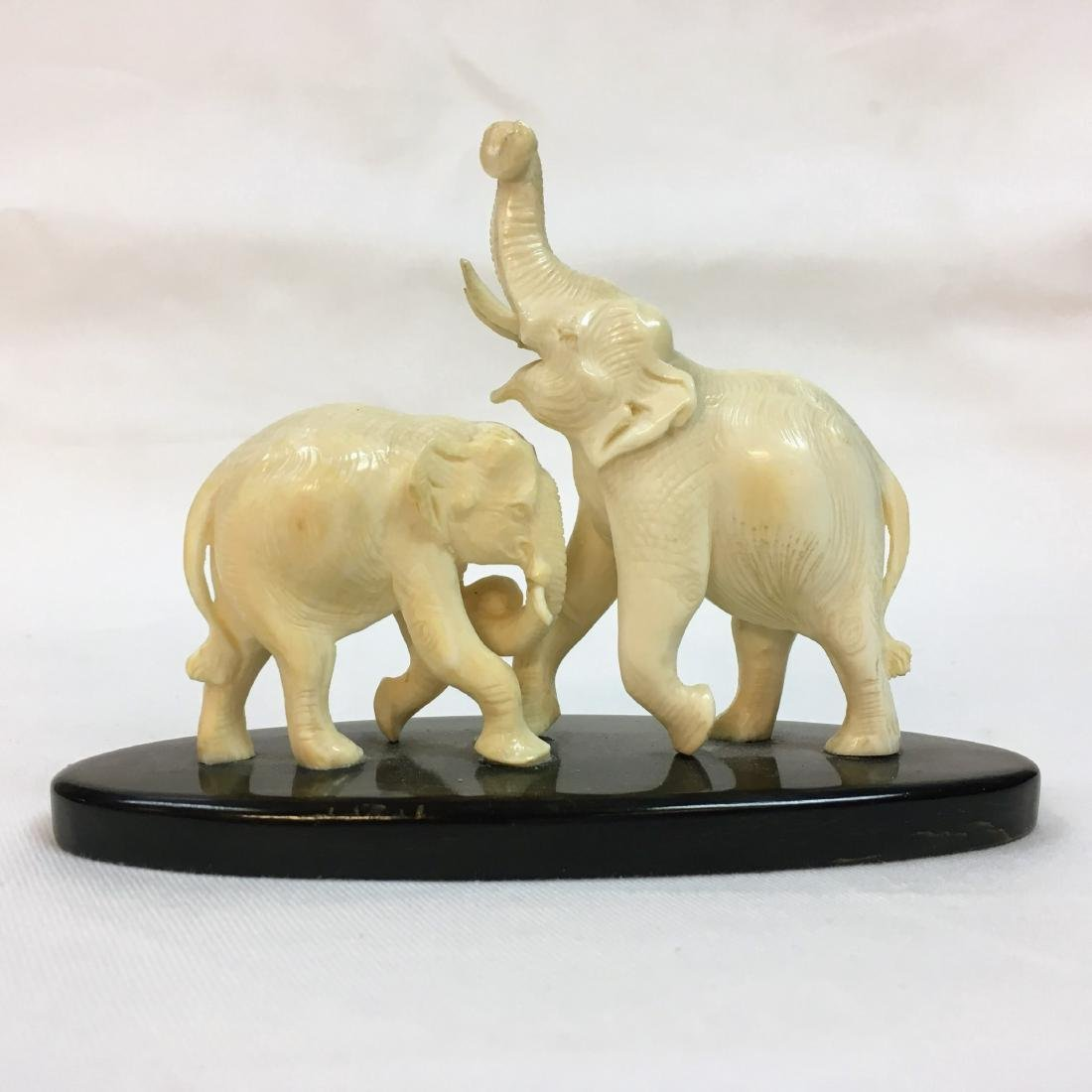 Handcarved two Elephant figure on base - 3