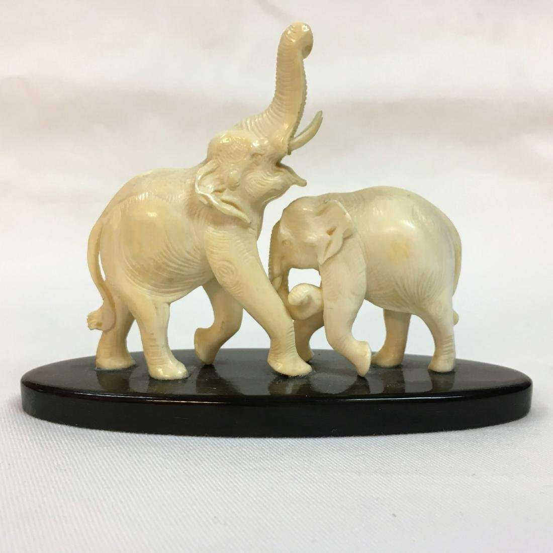 Handcarved two Elephant figure on base - 5