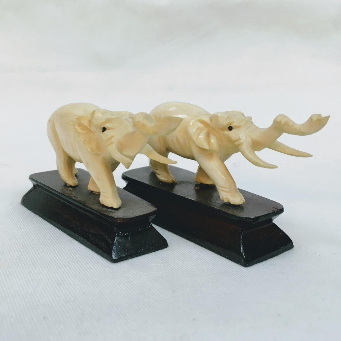 Vintage pair of Hand carved elephants on bases - 2