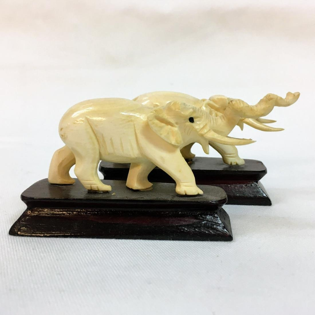 Vintage pair of Hand carved elephants on bases - 3