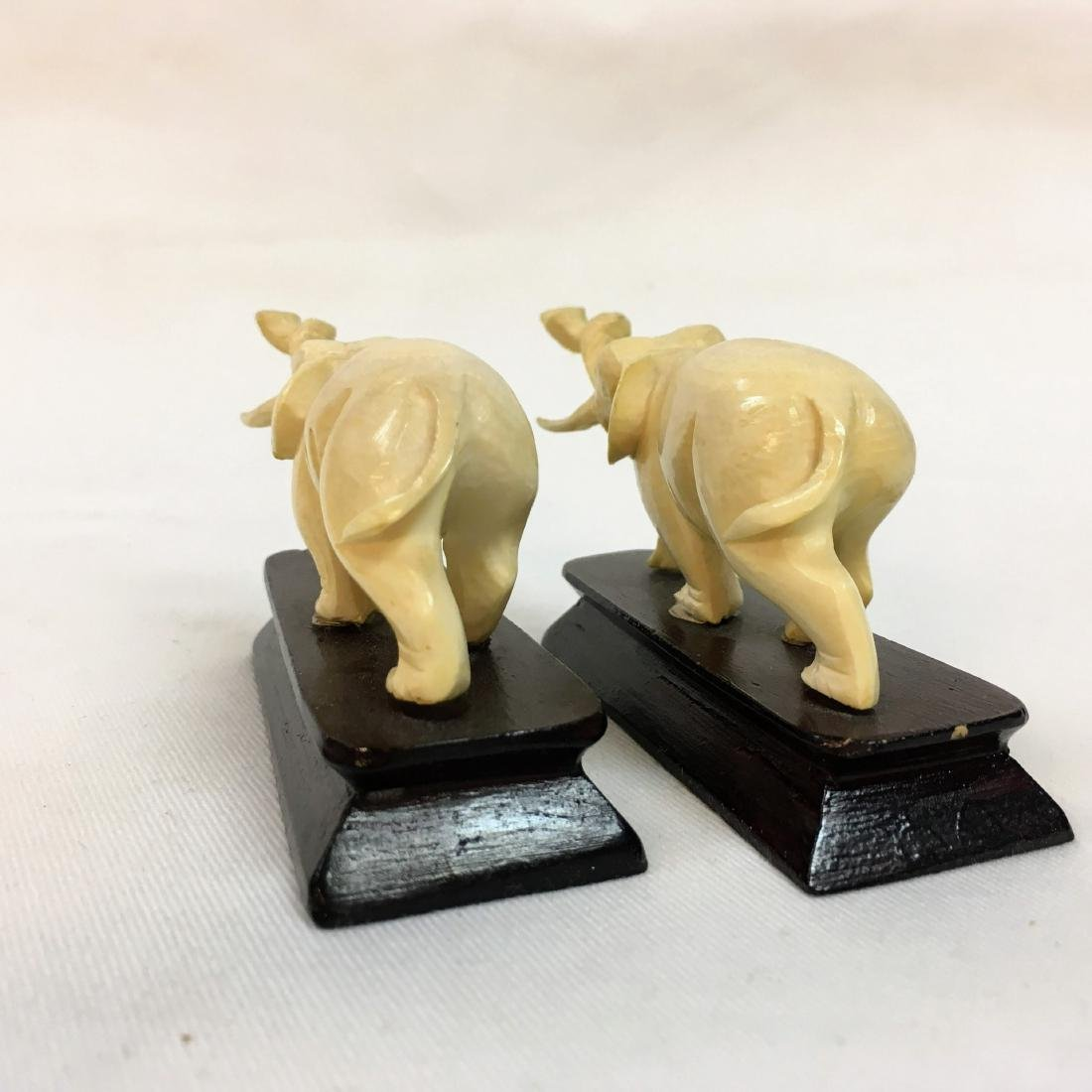 Vintage pair of Hand carved elephants on bases - 4