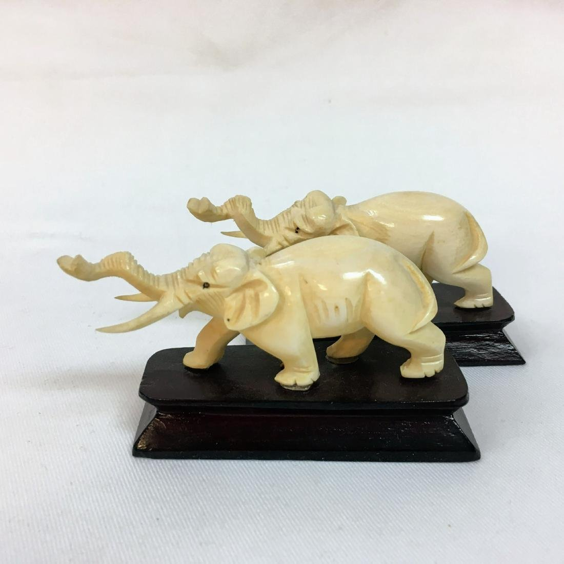 Vintage pair of Hand carved elephants on bases - 5
