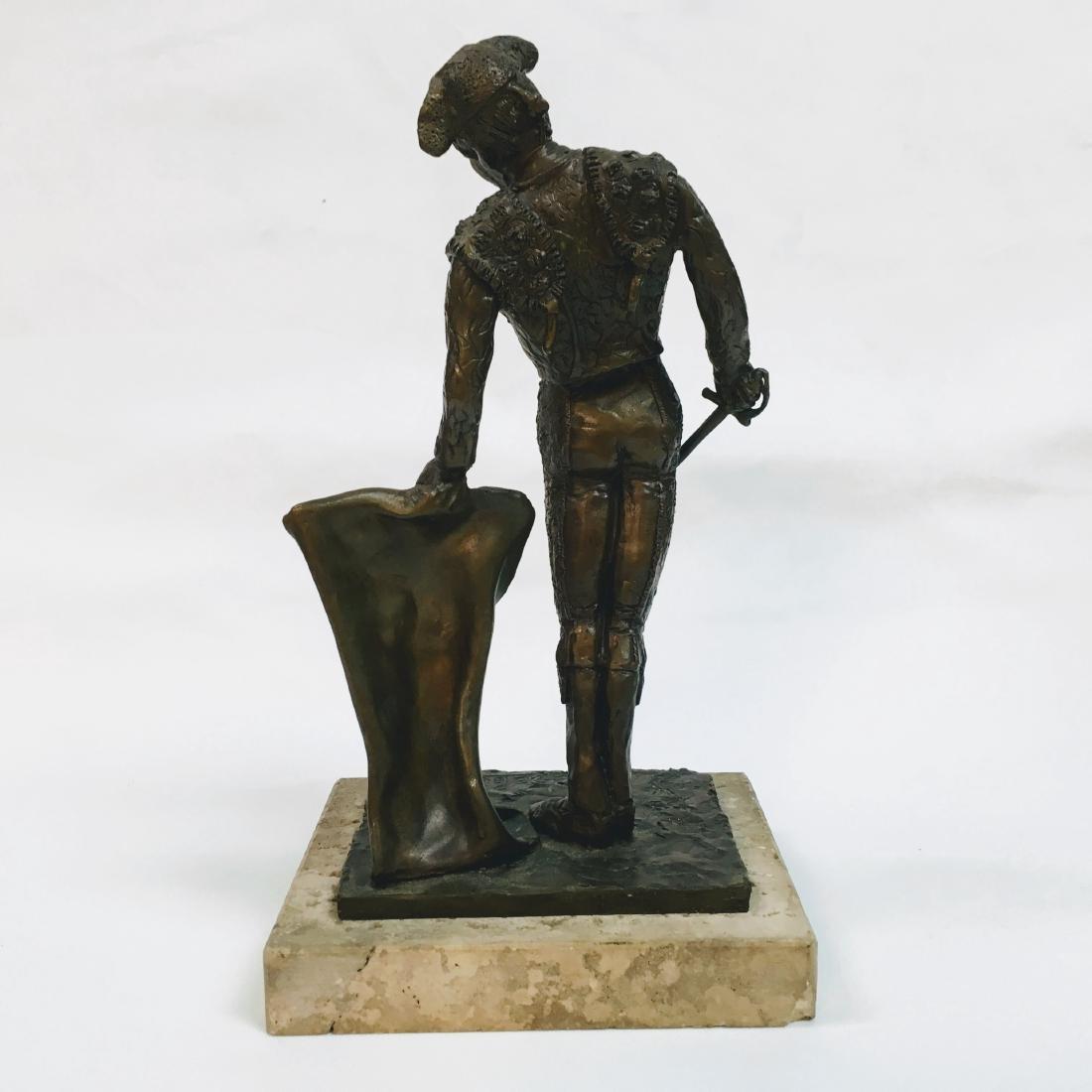 Vintage Bronze Torrero Sculpture on marble base Signed - 3