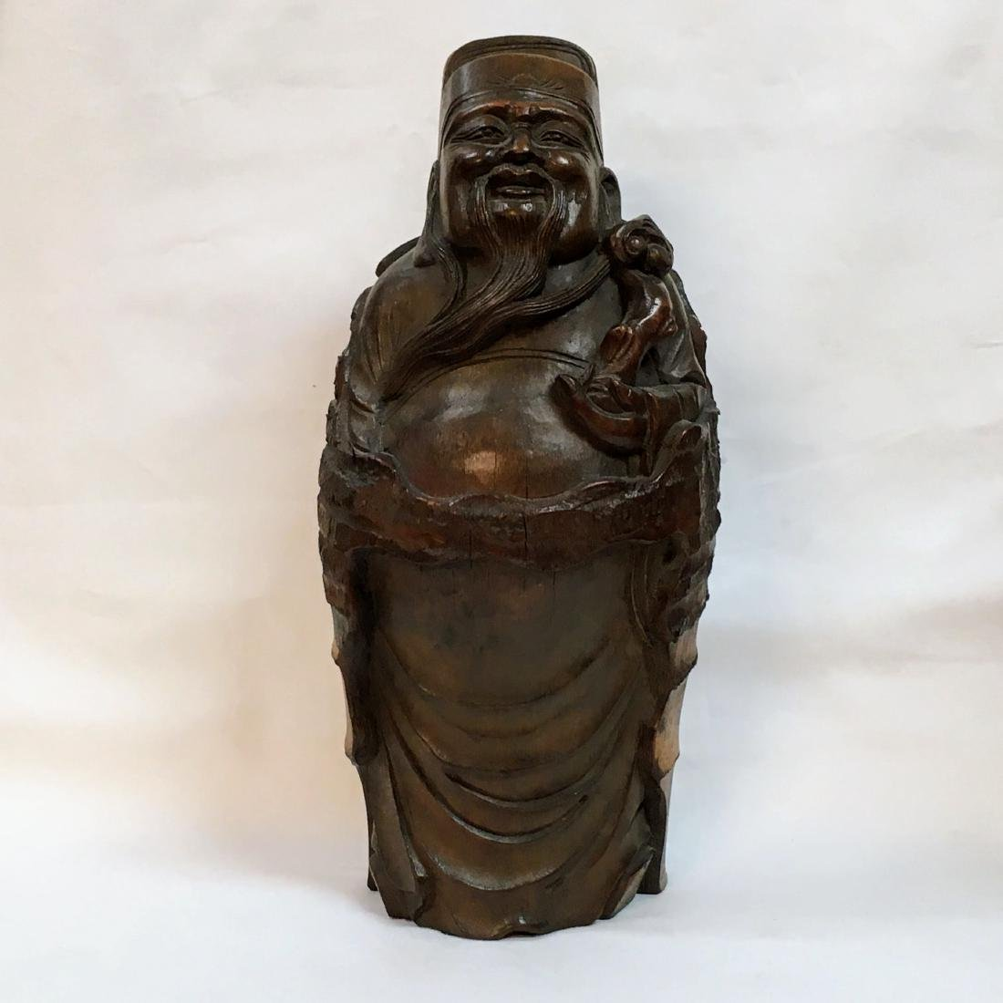 """Antique Chinese carved Bamboo Budda Statue 14.5"""""""