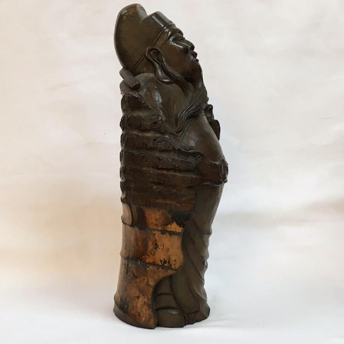 """Antique Chinese carved Bamboo Budda Statue 14.5"""" - 4"""