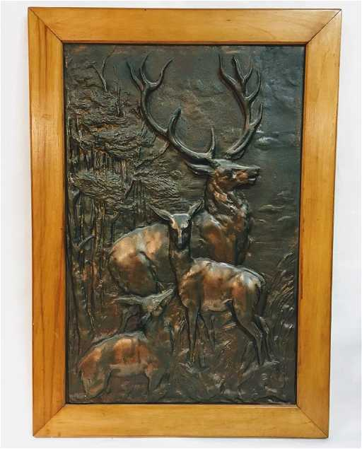 Lot: Vintage Cast iron Elk-Deer-Stag Fireplace Cover - Wall