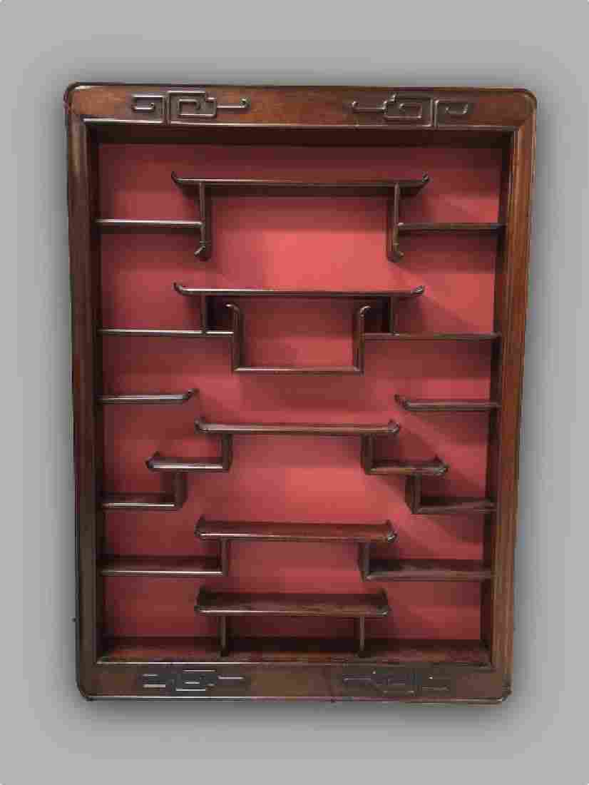 Antique Chinese Rosewood Wall Mount Curio Cabinet