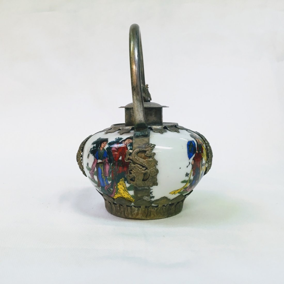Chinese Vintage Porcelain & Metal Teapot - 2