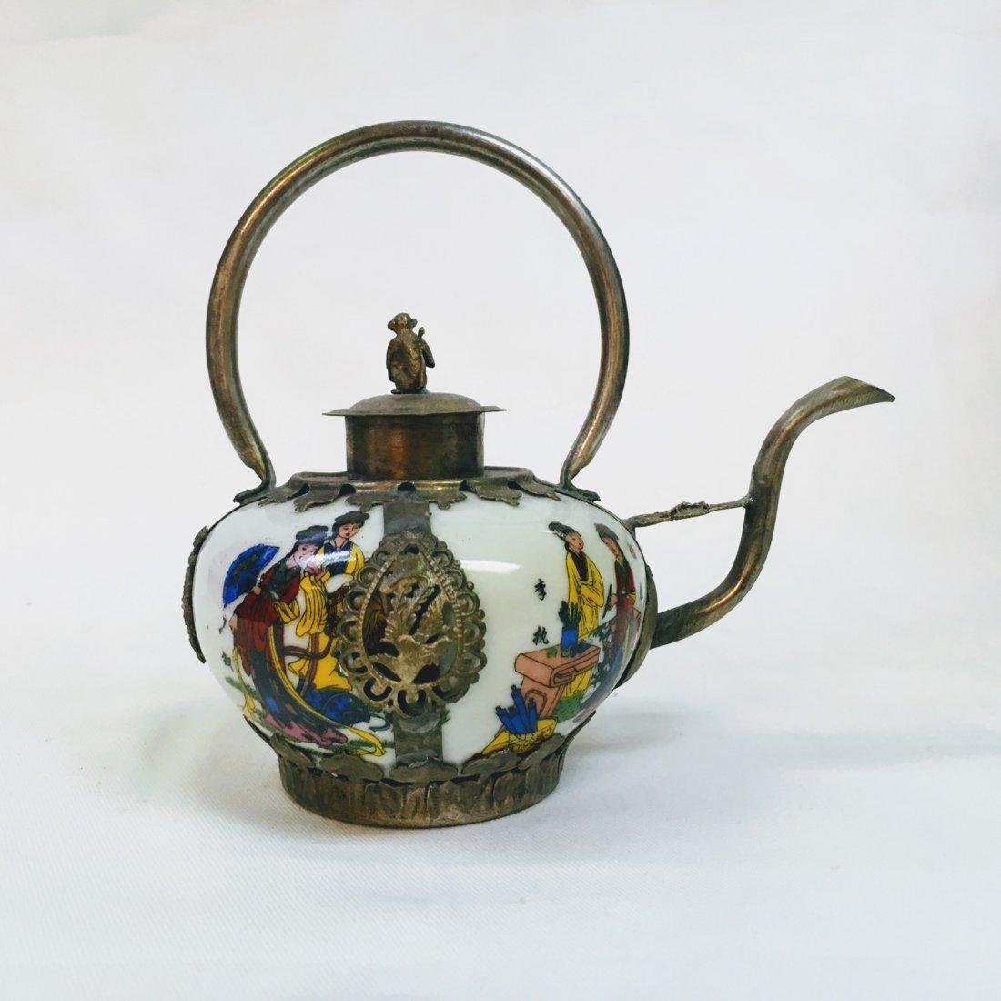 Chinese Vintage Porcelain & Metal Teapot - 3