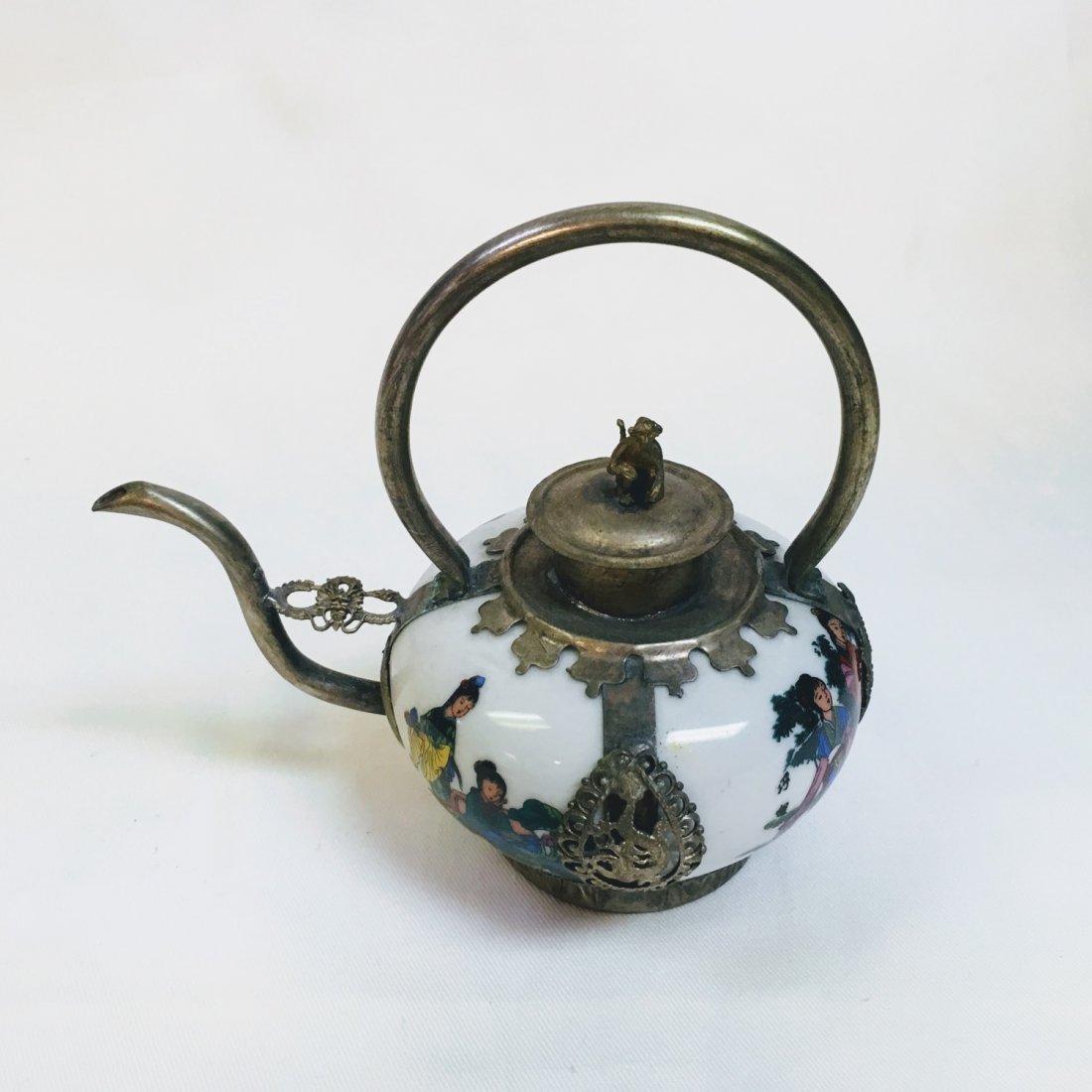 Chinese Vintage Porcelain & Metal Teapot - 5
