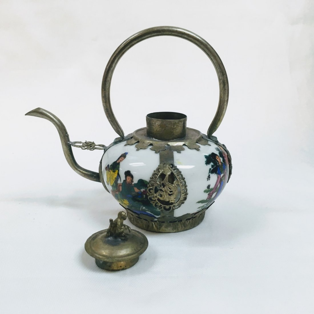 Chinese Vintage Porcelain & Metal Teapot - 7