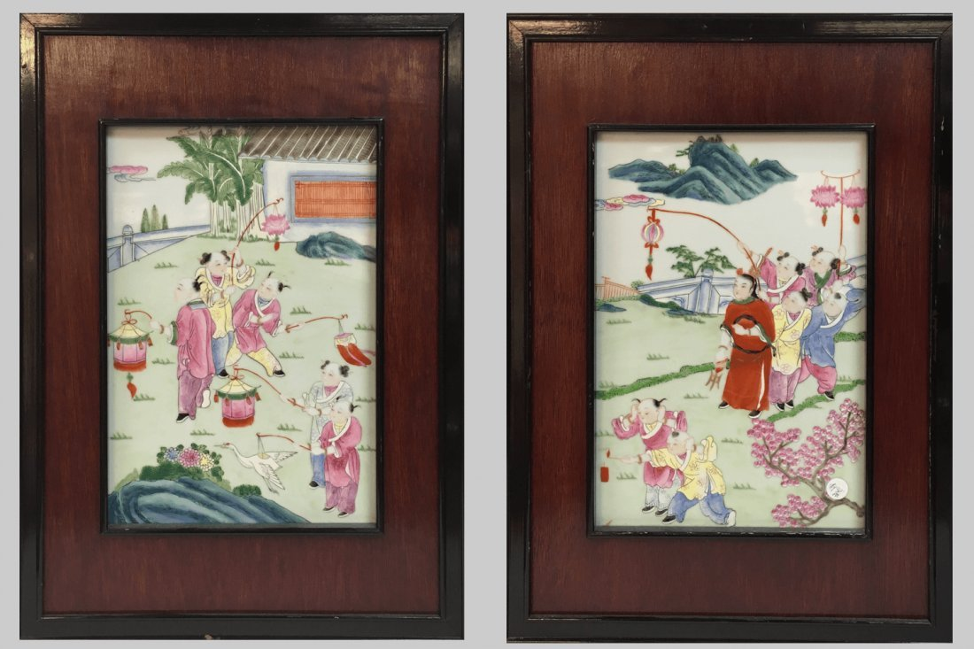 Chinese FAMILLE ROSE  ANTIQUE PORCELAIN WALL PLAQUES