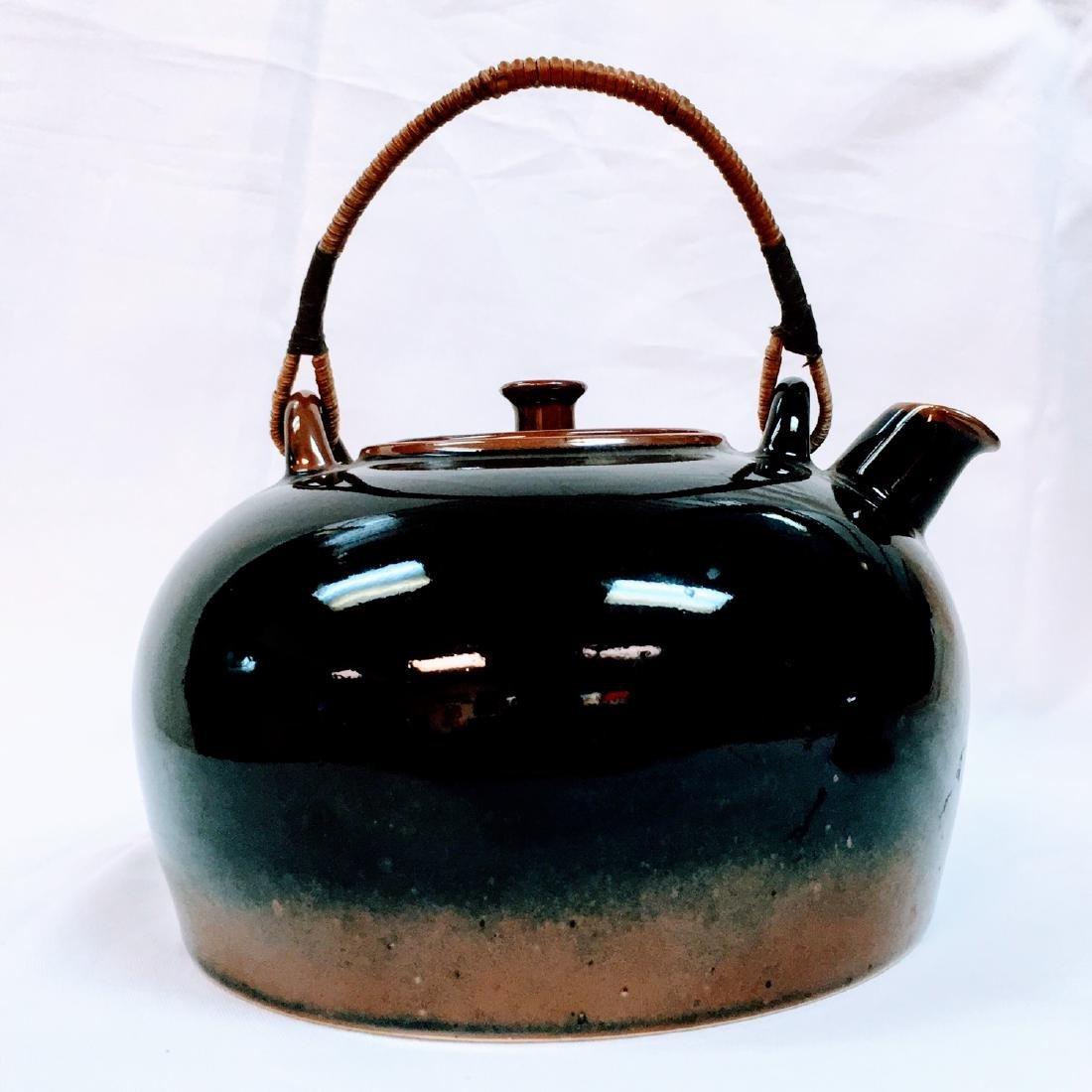 Vintage Japanese ceramic glazed tea pot - 3