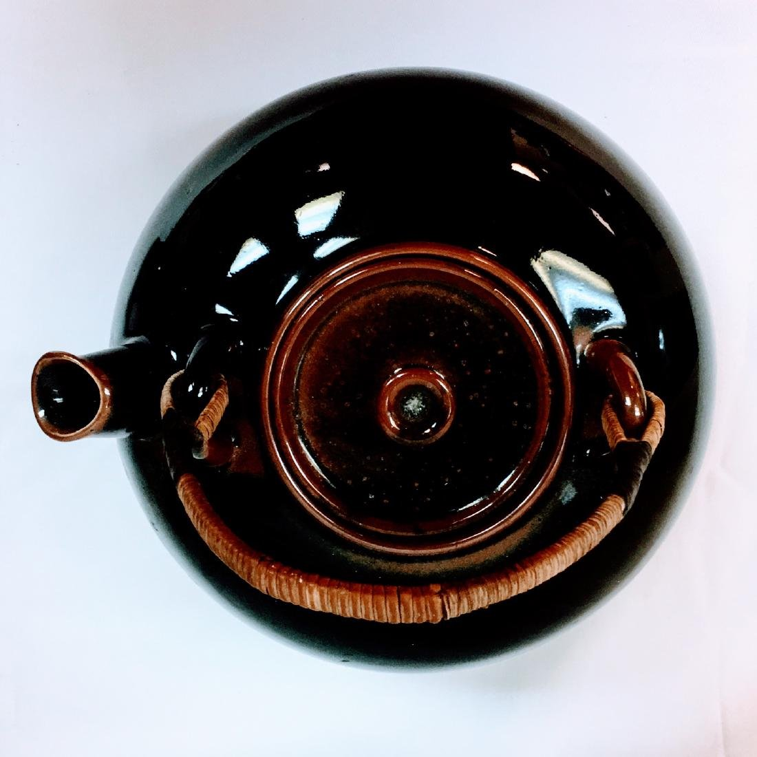 Vintage Japanese ceramic glazed tea pot - 4