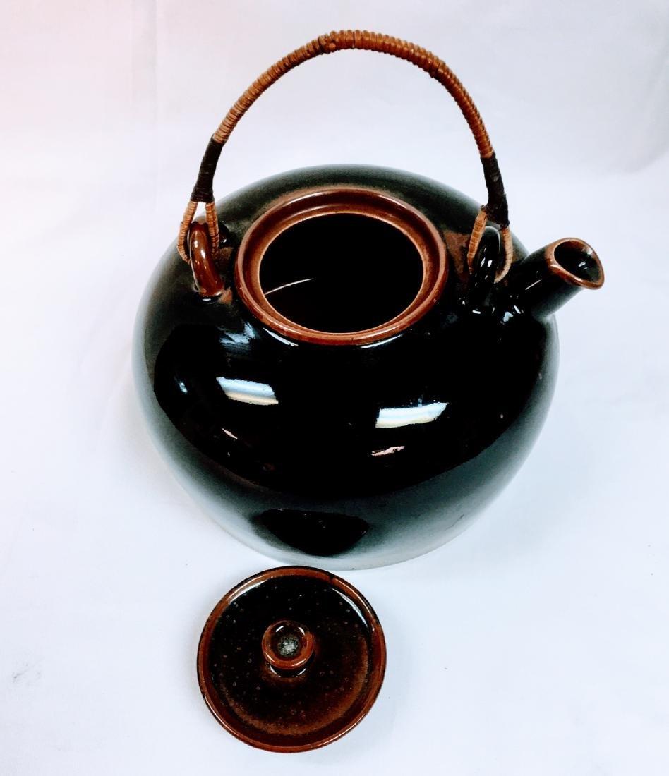 Vintage Japanese ceramic glazed tea pot - 5