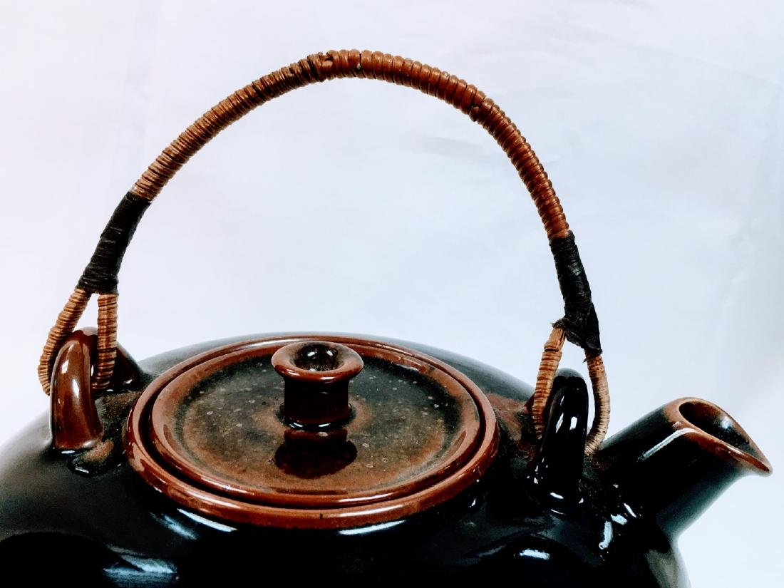 Vintage Japanese ceramic glazed tea pot - 6