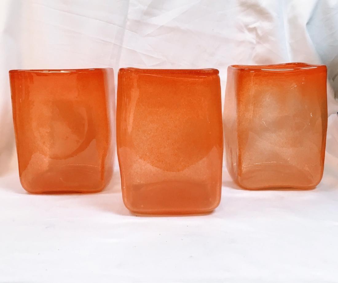 Set of 3 modern orange glass vases