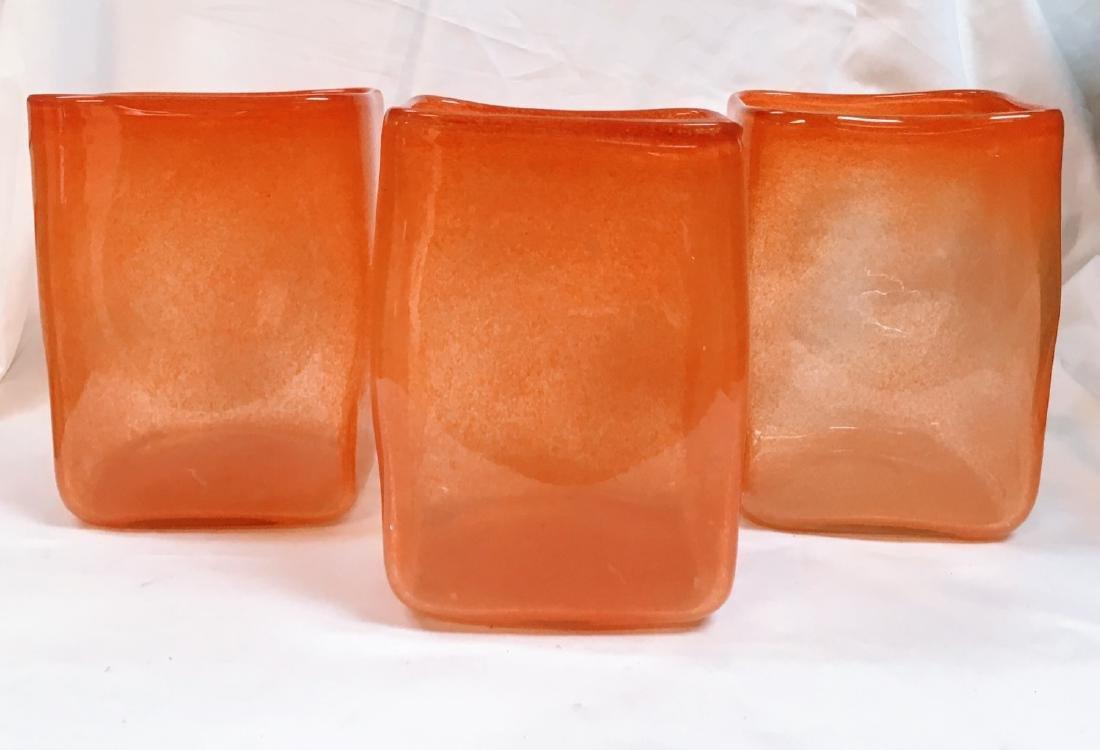 Set of 3 modern orange glass vases - 3