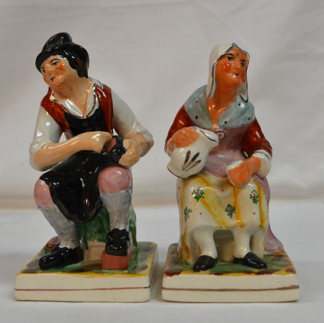 Old Staffordshire Pottery Figures-Jobson and Nell-1920s
