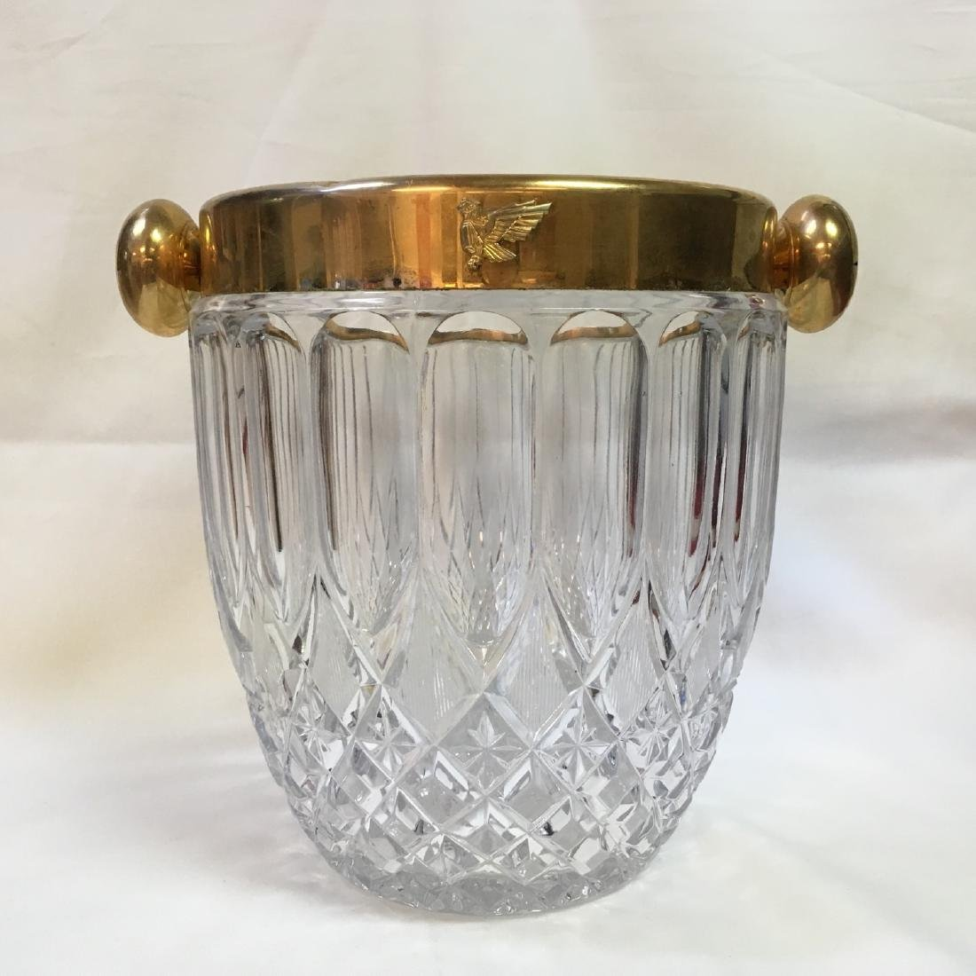 Vintage Cut Glass Cristal Tall Round Clear Ice Bucket