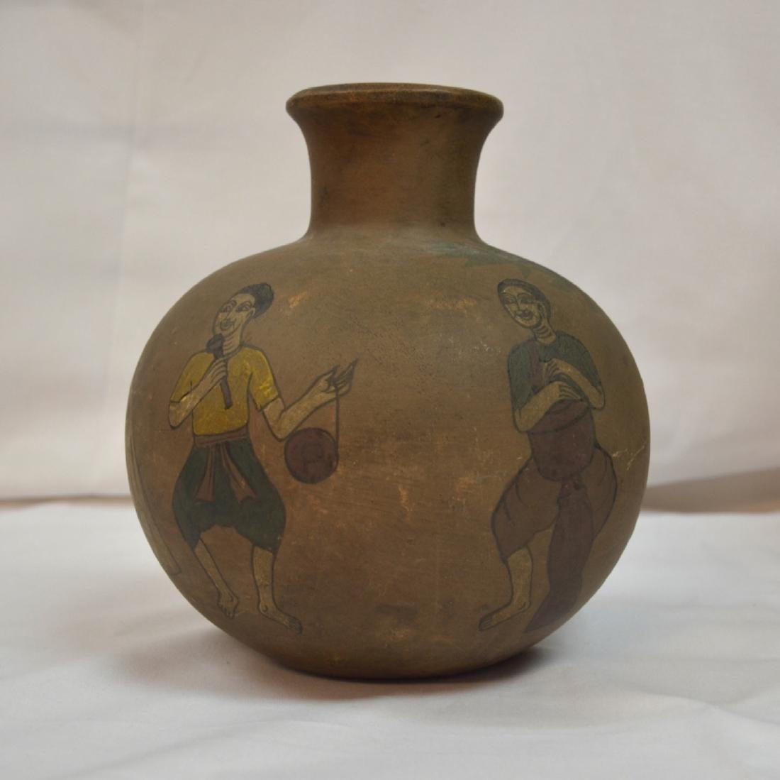Rare handpainted Ceramic vessel, origin unknown, signed
