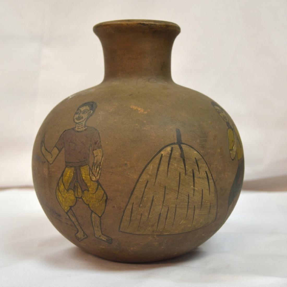 Rare handpainted Ceramic vessel, origin unknown, signed - 2