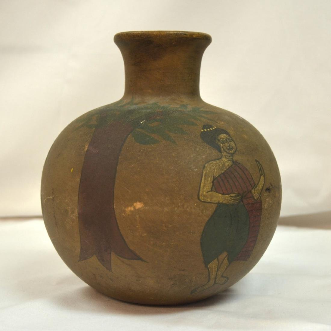 Rare handpainted Ceramic vessel, origin unknown, signed - 3
