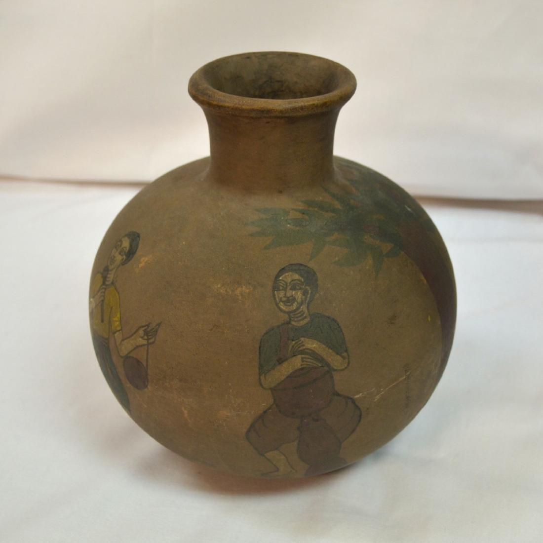 Rare handpainted Ceramic vessel, origin unknown, signed - 4
