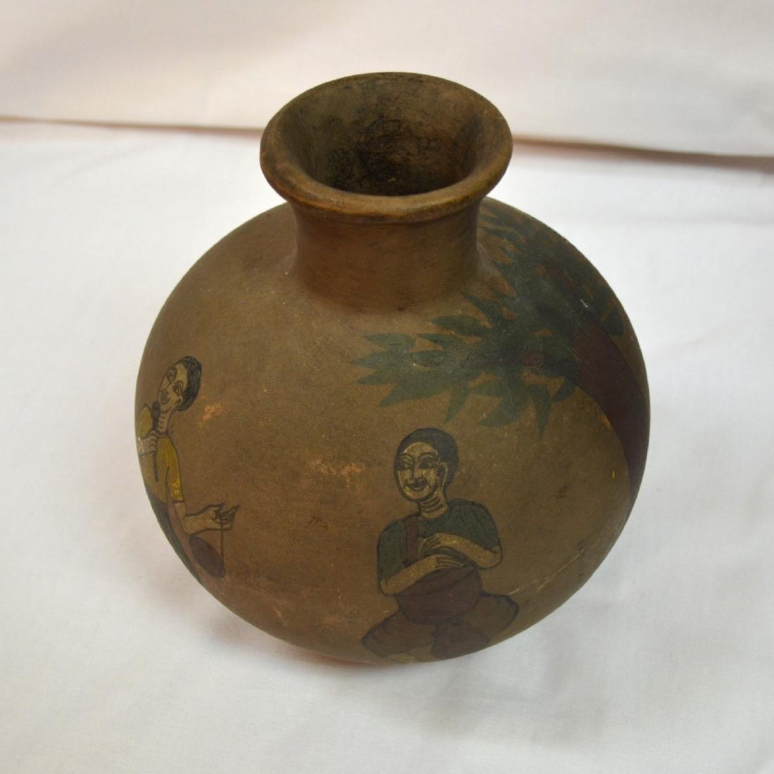 Rare handpainted Ceramic vessel, origin unknown, signed - 5