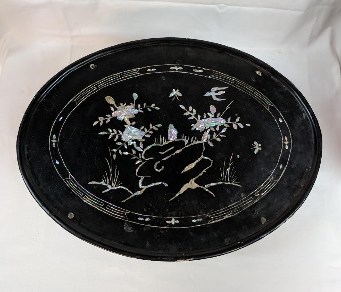 Beautiful black antique Chinese mother of pearl Tea