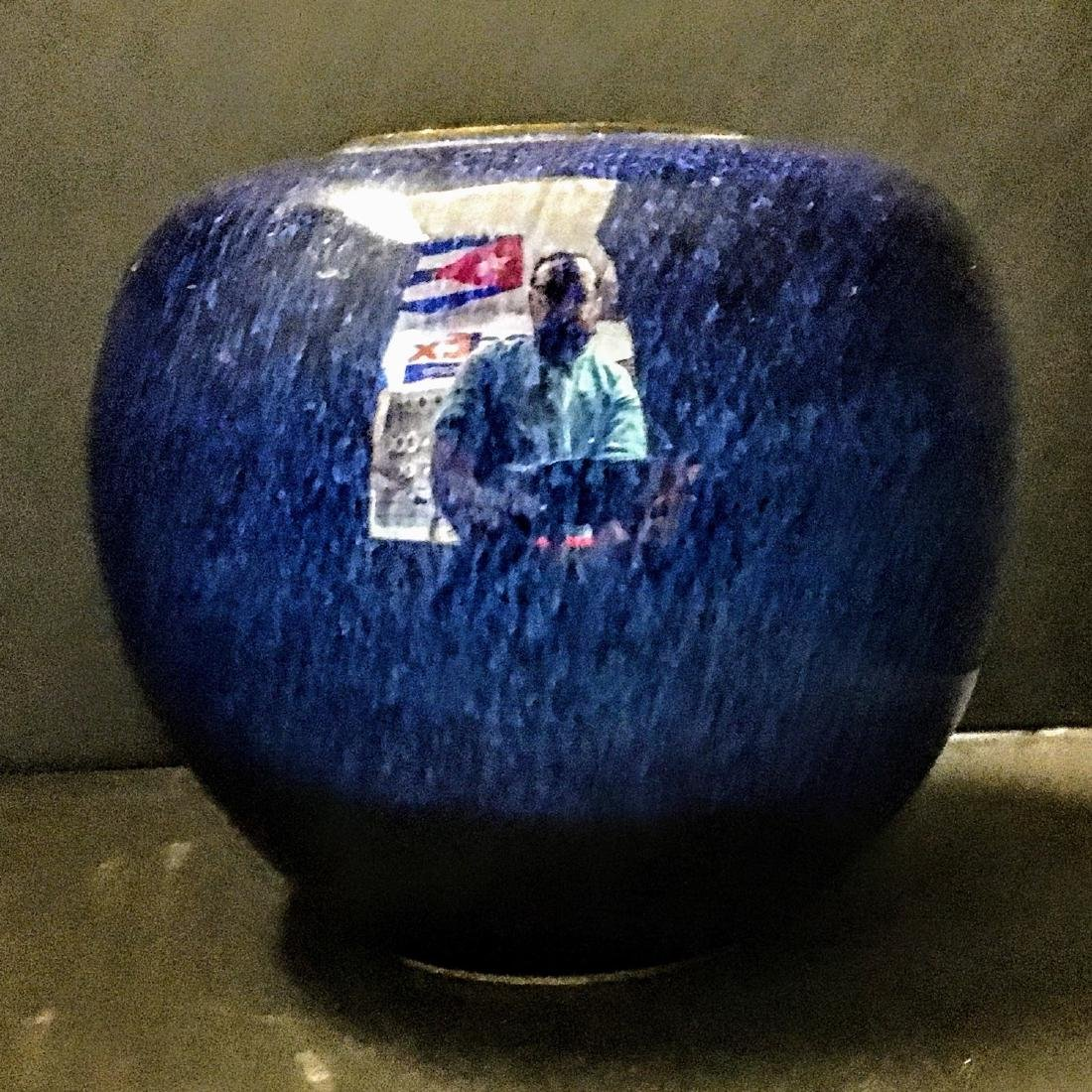 Asian Blue Pottery Small Studio Vase