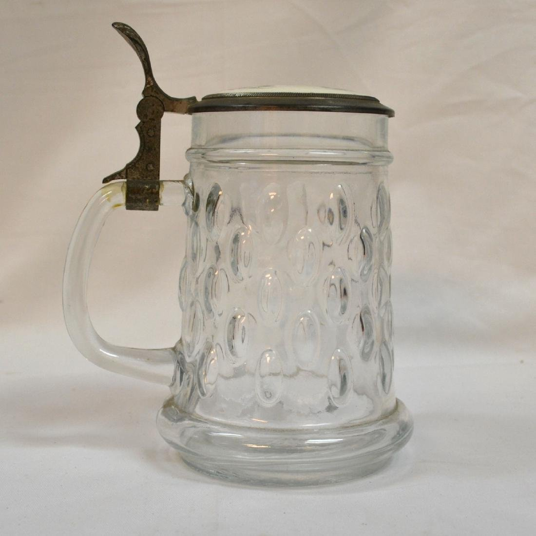 Antique German Cut Glass Beer Stein Hand-painted - 3