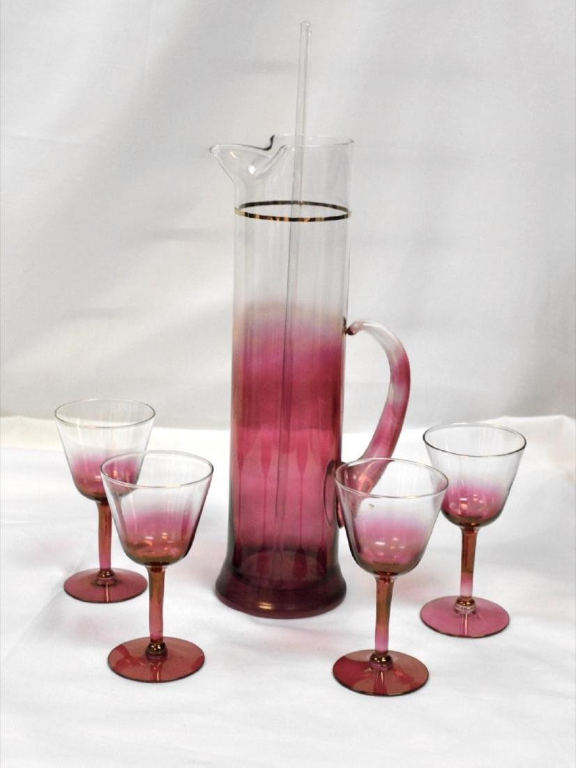 Vintage set of ruby pitcher, stirrer  and glasses