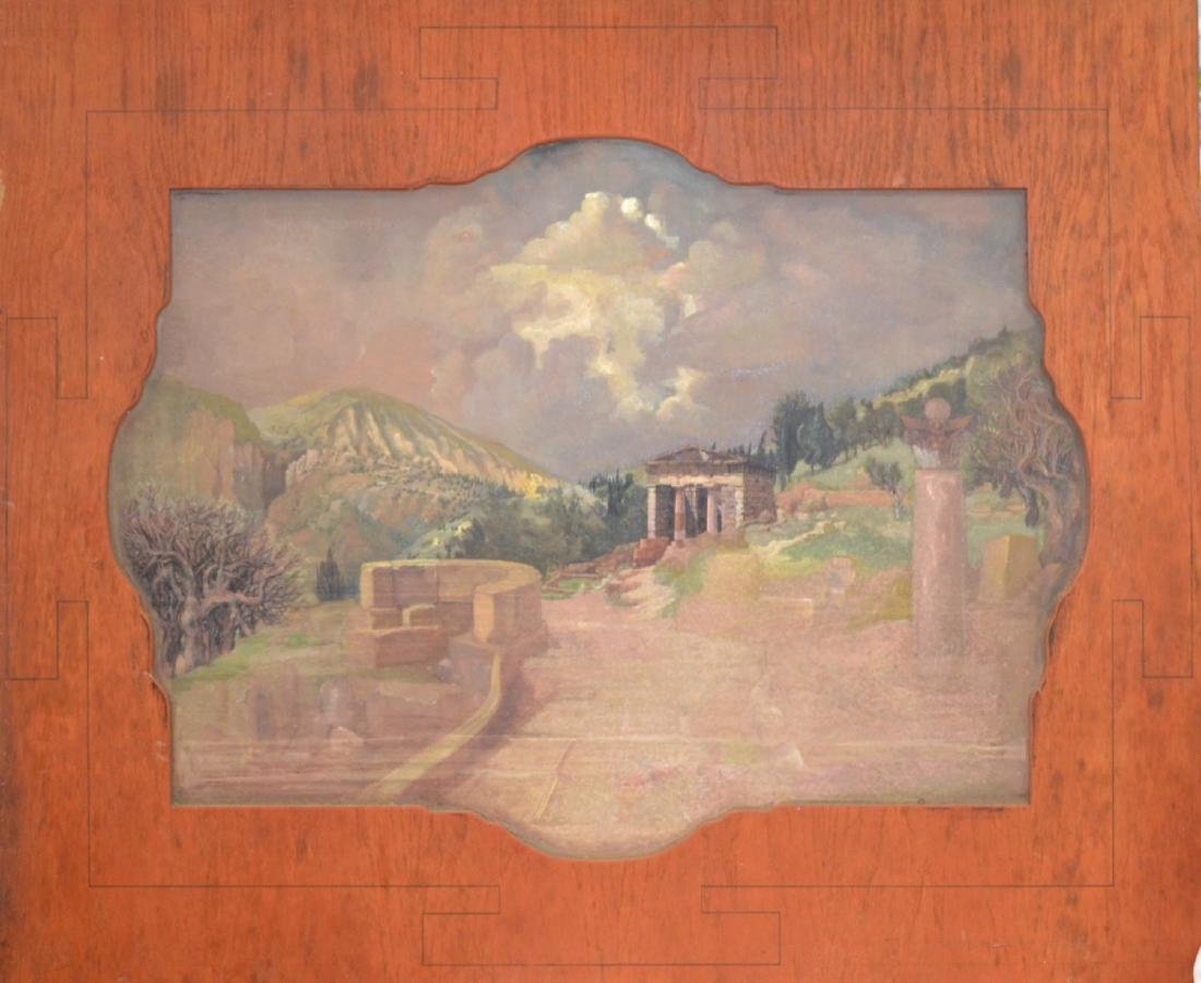 Antique oil on board landscape painting, unsigned,