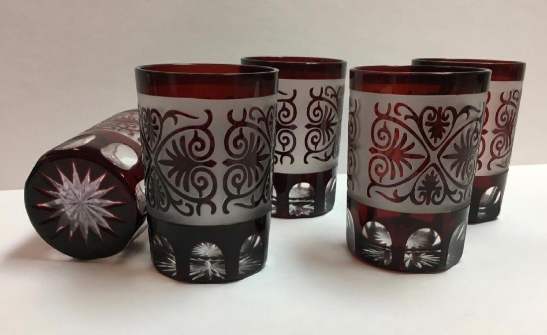 Vintage Glasses, Bohemian, Ruby Red, etched - 2