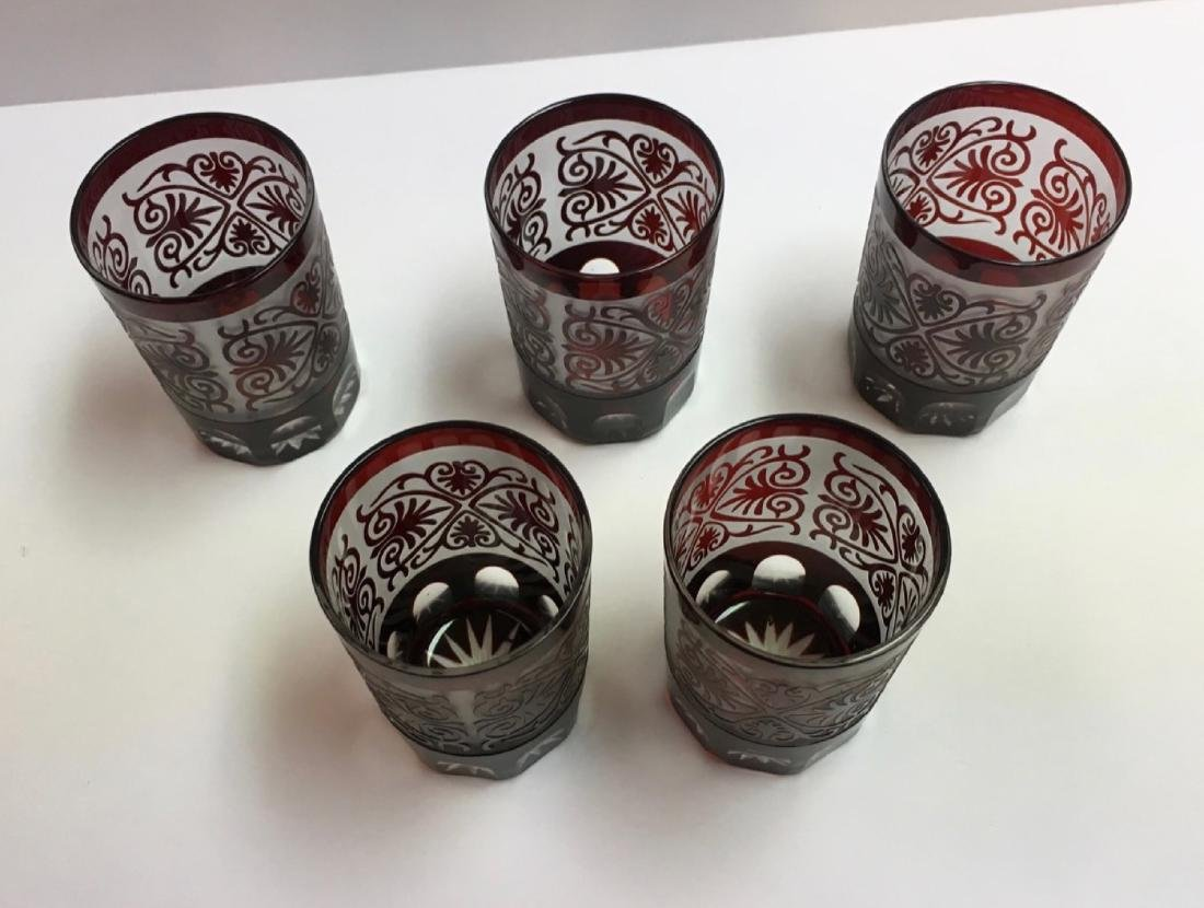 Vintage Glasses, Bohemian, Ruby Red, etched - 3